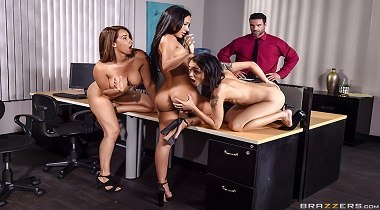 Brazzers Brazzers extra - 1 800 Phone Sex Line 4 with Amia Miley, Holly Hendrix, Isis Love & Charles Dera 380x210