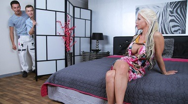 MomXXX - UK MILF takes two cocks in one hole with Barbie Sins , Matty & Nick Ross 380x210